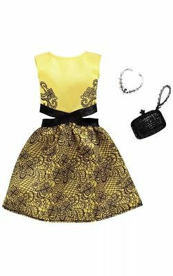 NEW 2018 BARBIE DOLL COMPLETE LOOK FASHION PACK OUTFIT Yellow & Black Dress