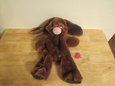 build a bear unstuffed dark brown rabbit with blue eyes and heart 16'' 2014