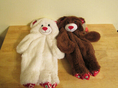 build a bear unstuffed brown and white candy cane bears and heart 16''