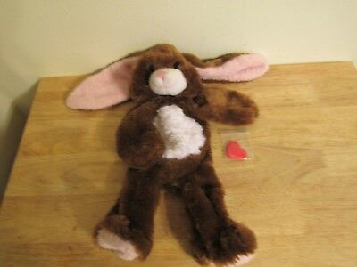 build a bear unstuffed sparkly brown rabbit with pink trim and heart 16'' 2010
