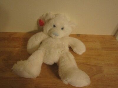 build a bear unstuffed white bear with blue nose and heart 14''