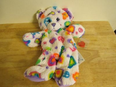 build a bear unstuffed white bear with peace signs hearts and heart 16'' 2013