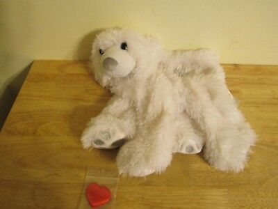 build a bear unstuffed sparkly white bear with snowflake and heart 16'' 2011