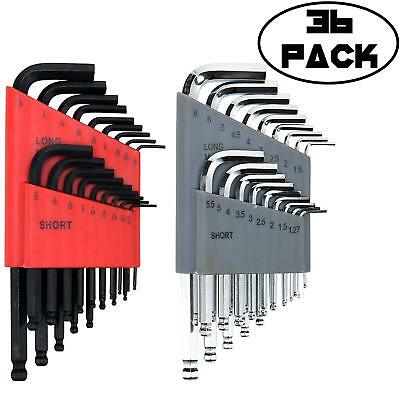 36 Piece Ball End Long Arm Hex Key Allen L Wrench Driver SAE & Metric Set New...