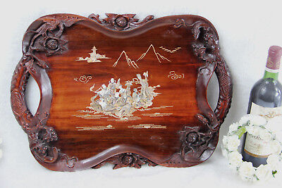 Antique chinese wood carved tray Mother pearl inlaid Animals eagle fox