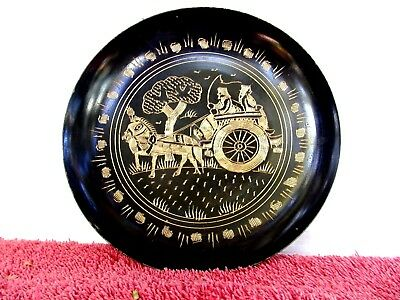 VINTAGE  EGYPTIAN  TYPE  ENGRAVED  BRASS  WALL  PLATE   15cm.