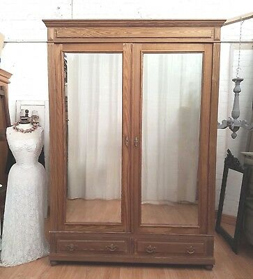 Large Antique French Solid Pine Mirrored Wardrobe / Armoire - C1900