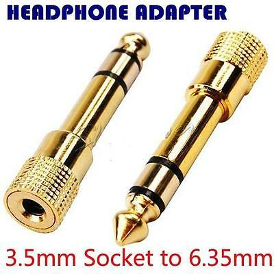 3.5mm Socket to 6.35mm Plug Audio converter Headphone Adapter GOLD PLATED YW