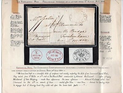 1806 St Kitts & Nevis Cover To Great Britain, Unique Cancels, Top Rarity