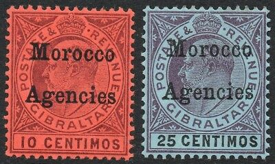 Gibraltar Issue KEVII 1903 SG18 and 20 (2) MH Morocco Agencies A1743