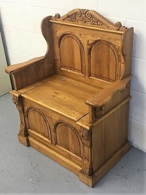 Antique Replica Old Pine Monks Bench Pew Settle With Lift Up Lid For Storage