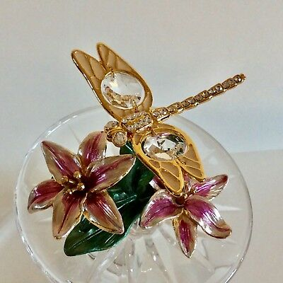 DRAGONFLY ornament -24k gold plated -Swarovski crystal temptations-NEW BOXED