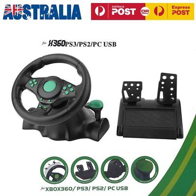 PS3 Steering Wheel Pedal Set Racing Gaming Simulator Driving PC for 360 YW
