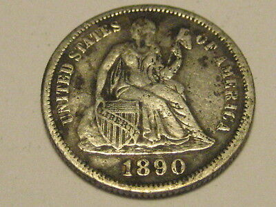 1890-P Seated Liberty Dime VF