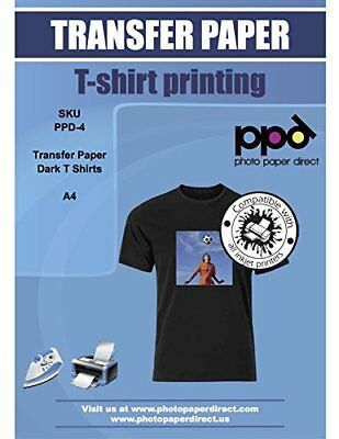 PPD Photo Paper Direct Inkjet Iron on Transfer Paper for Dark T-Shirts, ...