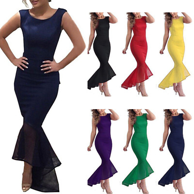 Ladies Evening Long Fishtail Ruffle Formal Wedding Dress Party Prom Ball Gowns