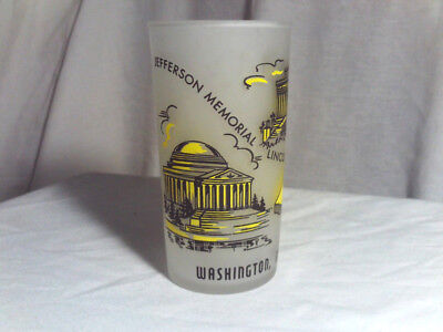 "Vintage 1940's-1960's Washington DC Frosted & Yellow 5"" Hazel Atlas State Glass"