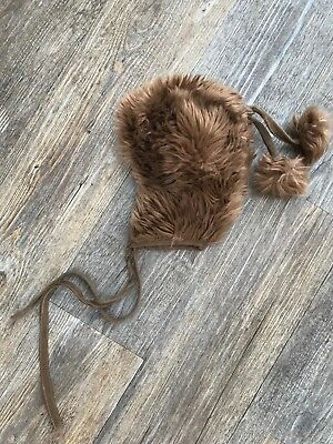 Vintage 70s Childs Infants Brown Faux Fur Hat Pom Pom