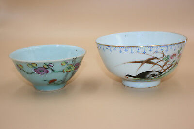 2 Pcs Antique Chinese Porcelain Hand Painted Bowl & Cup - Marks