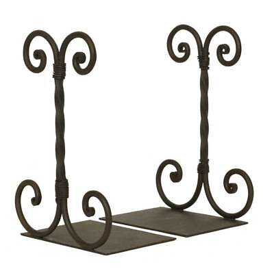 Twirled Scroll Bookends-Wrought Iron-Country and Farmhouse Home Decor