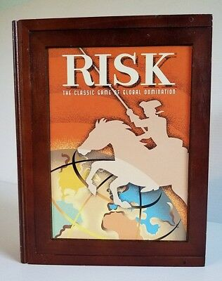 Parker Brothers Vintage Game Collection RISK Wooden Bookshelf Case