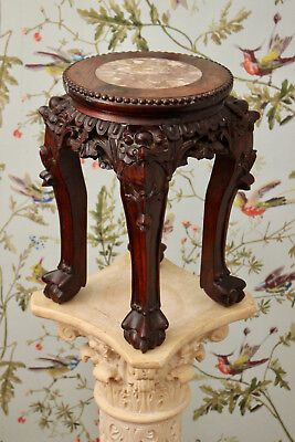 A Good Antique c19th Marble Top Chinese Plant Stand upon Ball Claw Feet