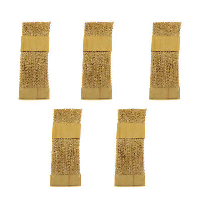 5 Pcs Dental Material Copper Brass Flat Brush For Cleaning Burs, Easy to Use