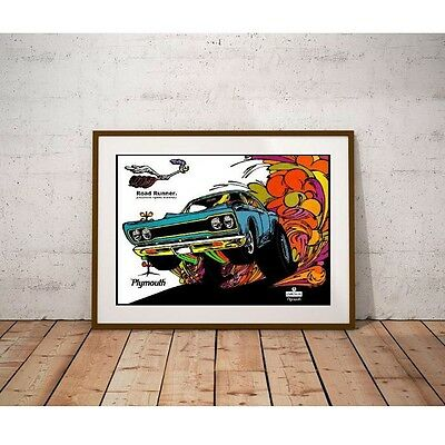 Muscle Car Road Runner 1968 Performance Car Poster - Groovy Mod Artwork
