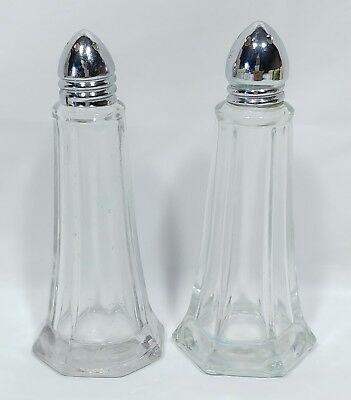 Tall Clear Glass Salt and Pepper Shakers with Chrome Style Lids