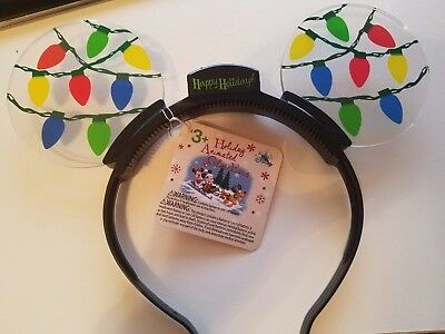 NEW Disney Parks Exclusive Holiday Christmas LED Blinking Mouse Ears FREE S&H