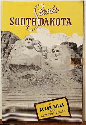 1940''s South Dakota vintage travel brochure booklet map Mount Rushmore cover b