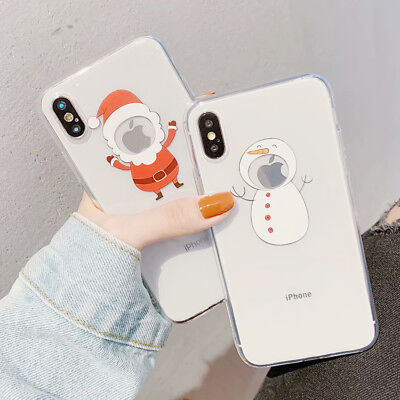 TPU Silicone Snata Snow Man Moose Case Cover For iphone 6/6S 7 8 Plus XR XS MAX