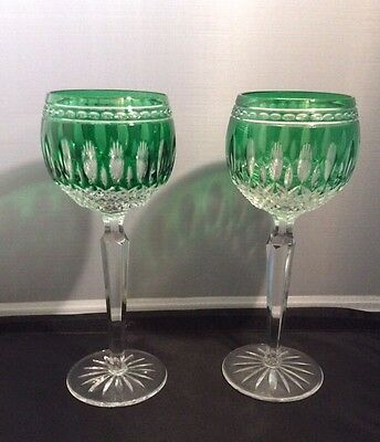 "Pair Of Rare Vintage WATERFORD ""Clarendon"" Hock Glasses Emerald Cut To  Clear"