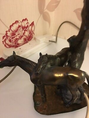 Beautiful Antique Vintage Brass 2 X Horses Table Lamp Light
