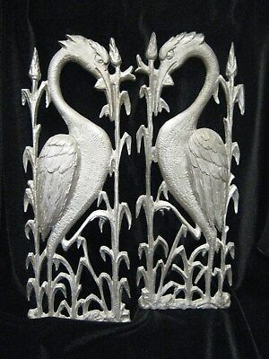 2 Antique Vintage Art Deco Bronze Heavy Metal Egret Wall Sculptures