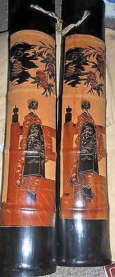 2 Antique Carved Bamboo Panels Figural Geisha Girl Vintage Japan China Flowers