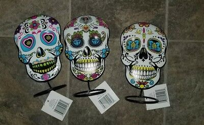 Day of the Dead Table Top Metal Decoration 3 pack 7.5 inches