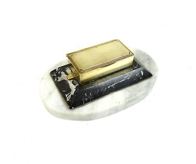 Rare Original French Art Deco Stamp Box Case Brass & Marble Paperweight 1930