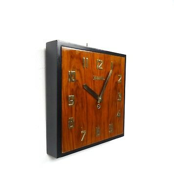Rare Original French Art Deco Wall Clock By Vedette Walnut Veneer Bauhaus
