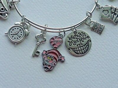 "Disneyland Disney Alice Wonderland ""we Are All Mad Here""  Charm Bangle Bracelet"