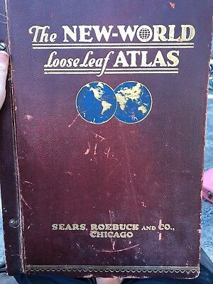 The New World Loose Leaf Atlas 1919 LARGE print edition Sears Roebuck chicago IL
