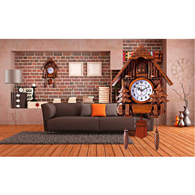 Mute Movement Cuckoo Wall Clock Large Size for House Decoration-Brown