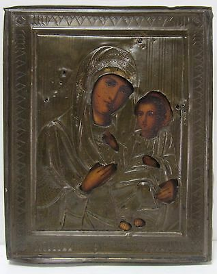 Antique Icon Mother of God Orthodox Russian Empire  Wood 180x140 mm