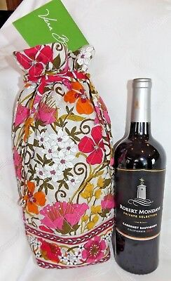 f067823a36ed VERA BRADLEY - Cheers to You - Wine Gift Bag - Quilted Fabric - Tea Garden