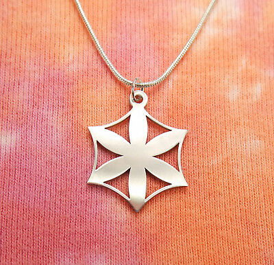 Flower of Aphrodite Necklace, Stainless Steel Charm Pendant Rozeta Solar Symbol