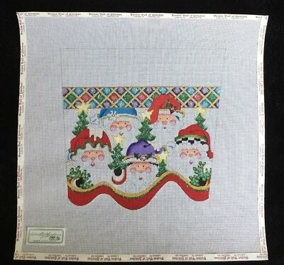 Strictly Christmas Hand-painted Needlepoint Canvas Santa Faces Stocking Cuff