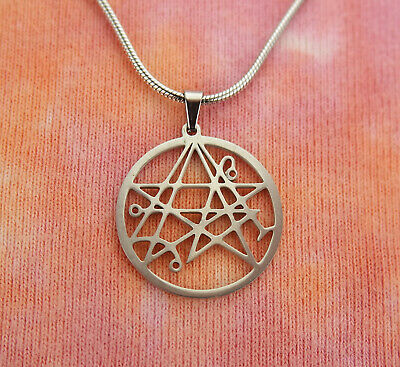 Necronomicon Necklace, HP Lovecraft Symbol Stainless Steel Magic Charm Pendant
