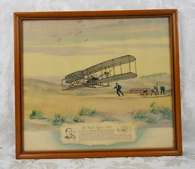 Vintage Mid Century Lithograph Print Wright Brothers Airplane Aviation History