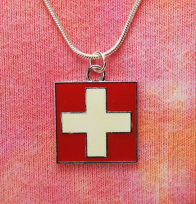 "Flag of Switzerland Necklace, Swiss Flag Charm Pendant Gift 16-36"" Enamel Color"