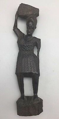 """Vintage African Carved Ebony Wood Statue, 15.5"""" Tall, Woman Figurine, Africa"""